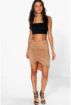 Lilly Rouched Knot Front Midi Skirt