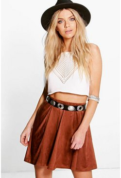 Bella Panelled Suede Skater Skirt