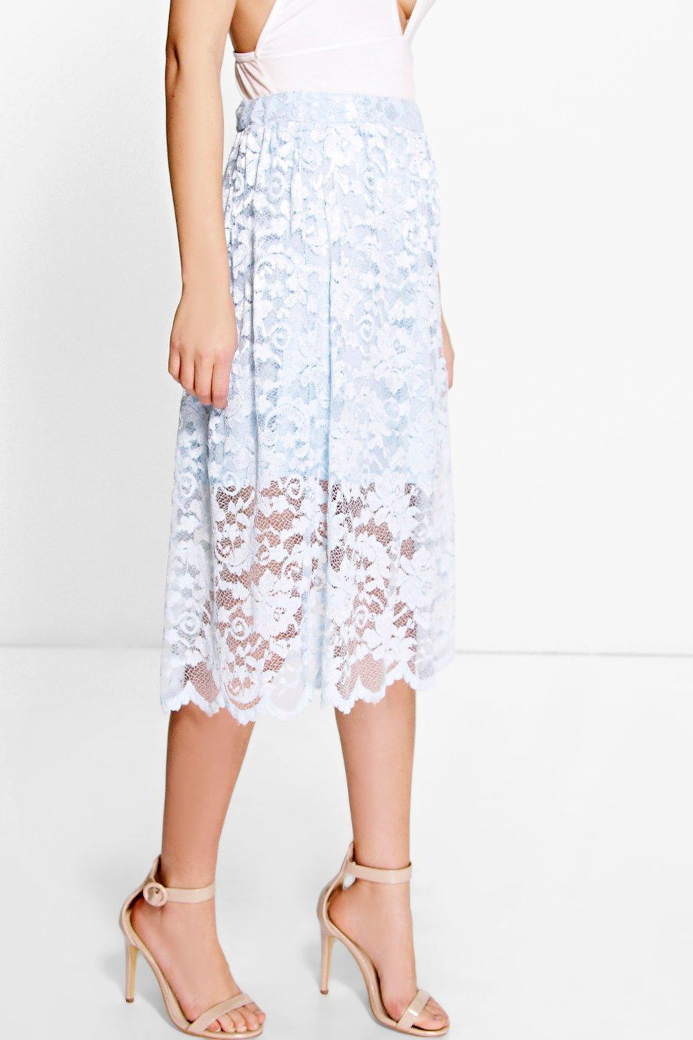 Kate Full Lace Midi Skirt | Boohoo
