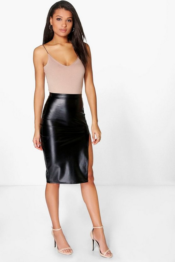 Loraya Side Split Leather Look Midi Skirt
