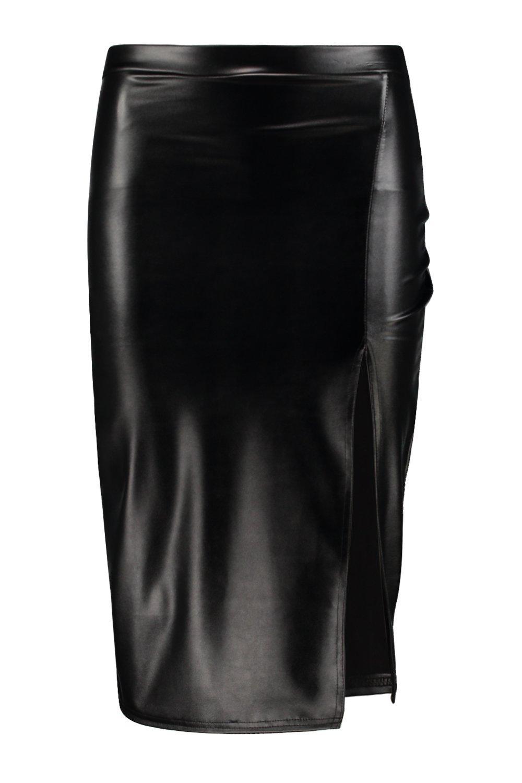 boohoo loraya side split leather look midi skirt ebay