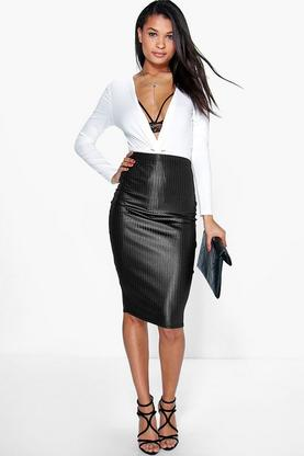 Amalia Wet Look Ribbed Midi Skirt