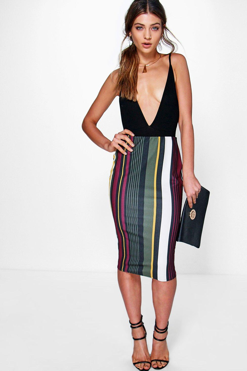 Aziza Bold Colour Stripe Midi Skirt