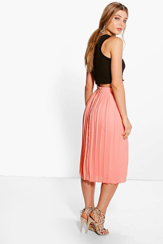 boohoo womens aura chiffon pleated midi skirt ebay