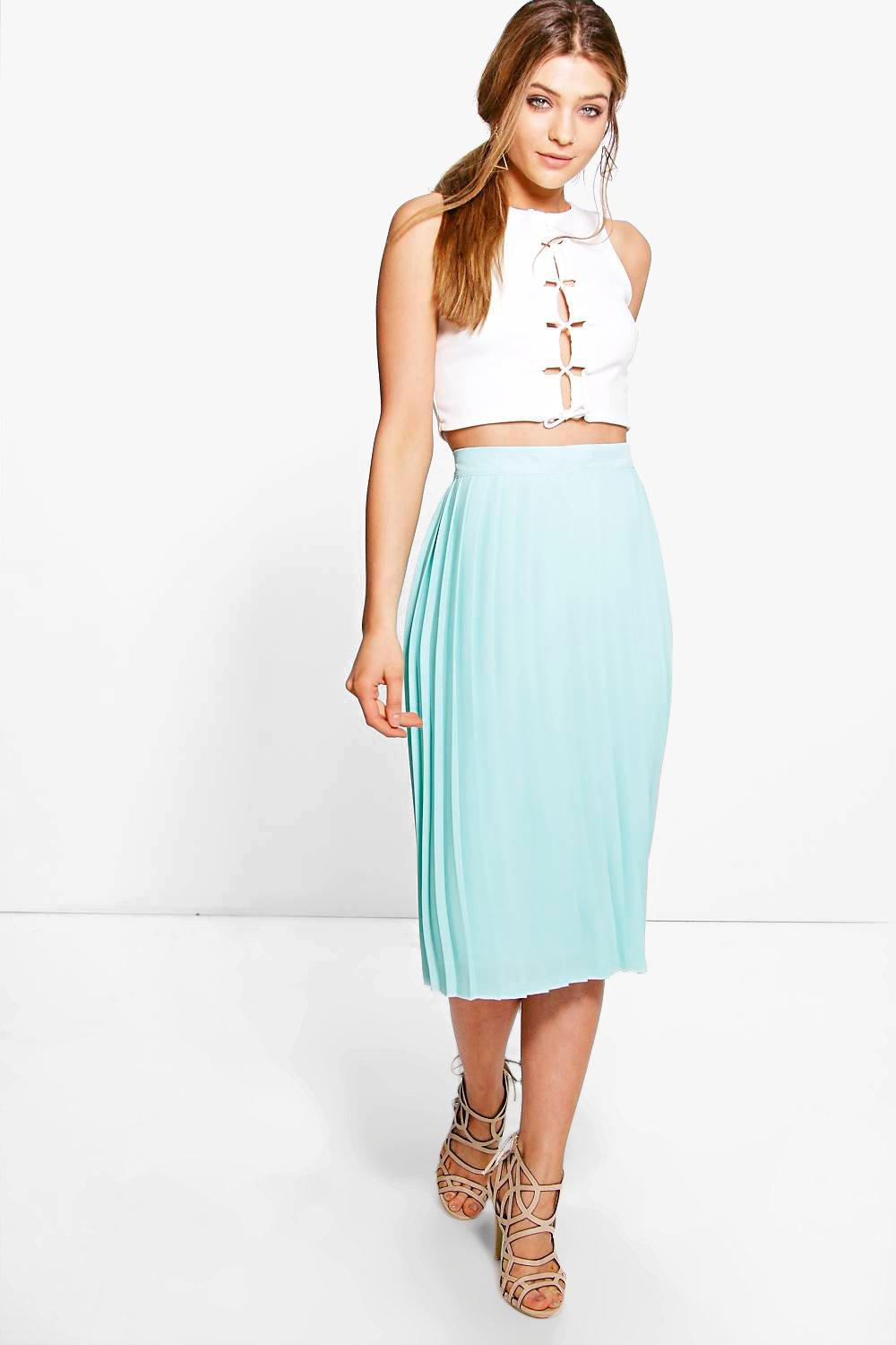 Aura Chiffon Pleated Midi Skirt | Boohoo