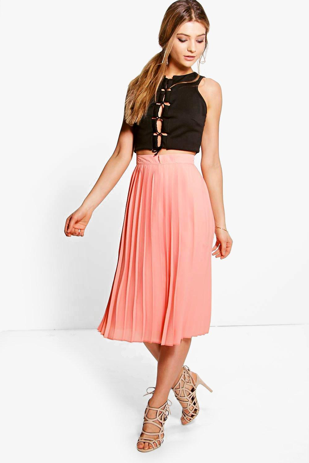Aura Chiffon Pleated Midi Skirt at boohoo.com
