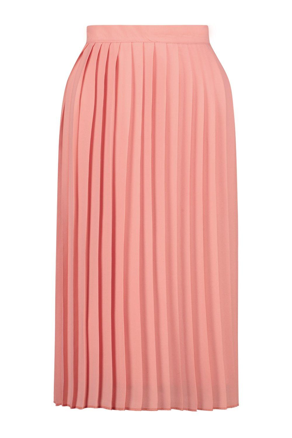 1920s Style Skirts Aura Chiffon Pleated Midi Skirt sugar-coral $26.00 AT vintagedancer.com