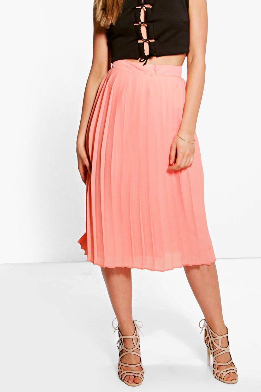 Aura Chiffon Pleated Midi Skirt at boohoo.com