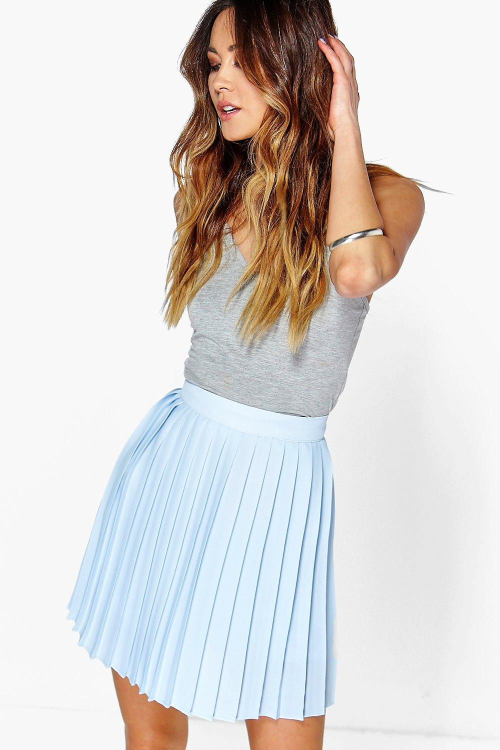 Boohoo Womens Cate Chiffon Pleated Mini Skirt