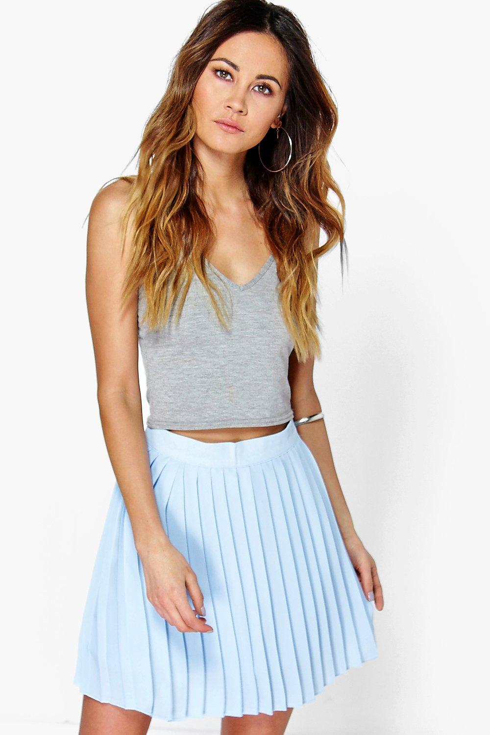 Chiffon Pleated Mini Skirt sky