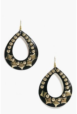Lois Studded Wooden Hoop Boho Earrings