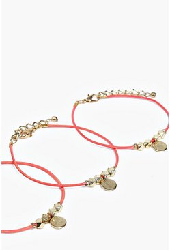 Nina Cord And Coin Bracelet 3 Pack