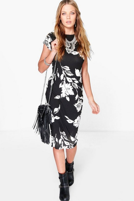 Ava Floral Printed Bodycon Midi Dress