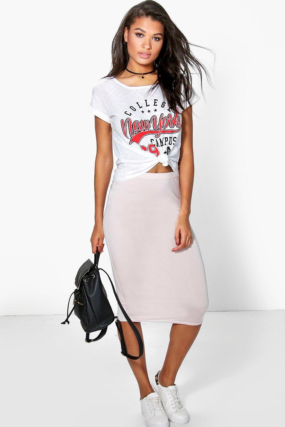 Bella Basic Jersey Midi Skirt