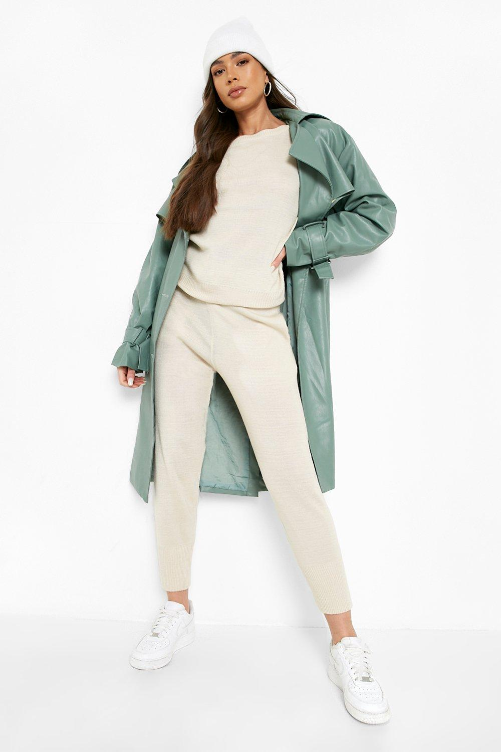 boohoo Womens Boutique Heavy Knitted Loungewear Set - Beige - S/M, Beige