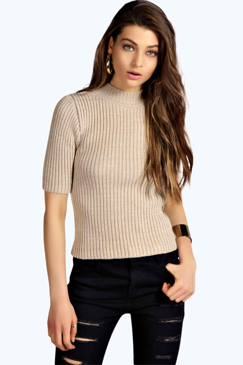 Lexi Turtle Neck Rib Knit Half Sleeve Jumper