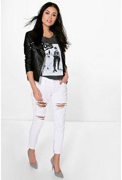 Ria Distressed White Mom Jeans