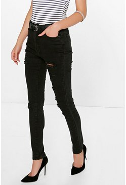 Jenny Distressed Ripped Skinny Jeans