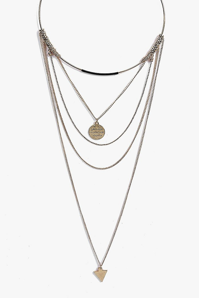 Maya Pendant Detail Multi Layered Necklace