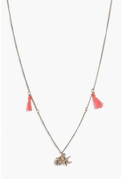 Elena Skinny Tassel And Shell Necklace