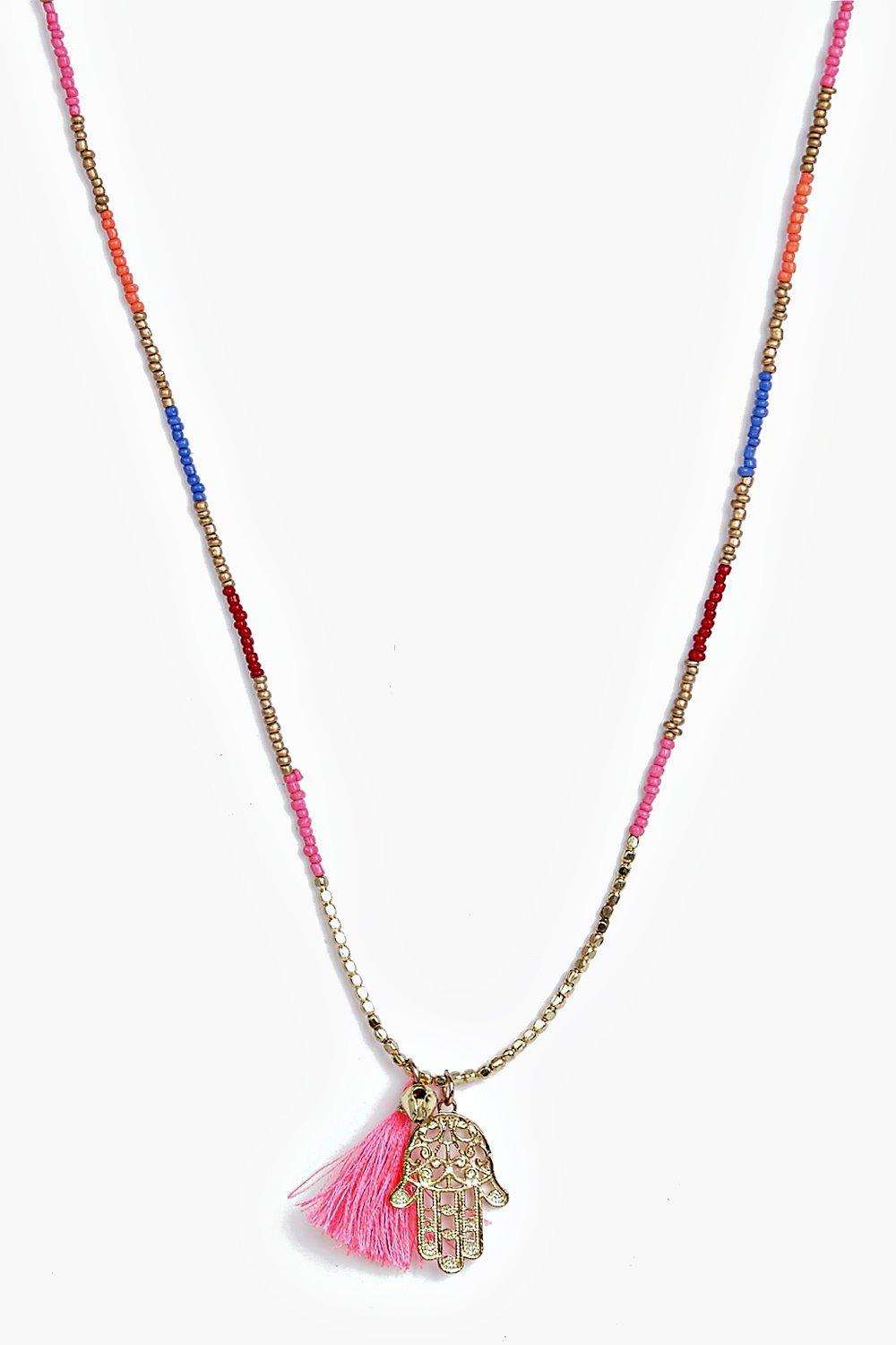 Lyla Beaded Hamsa And Tassel Necklace