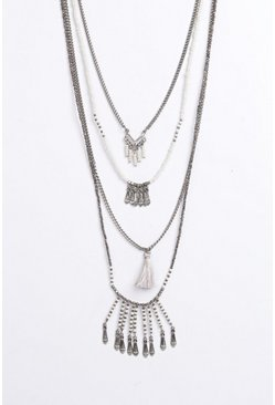 Neve Multi Layered Beaded Tassel Necklace