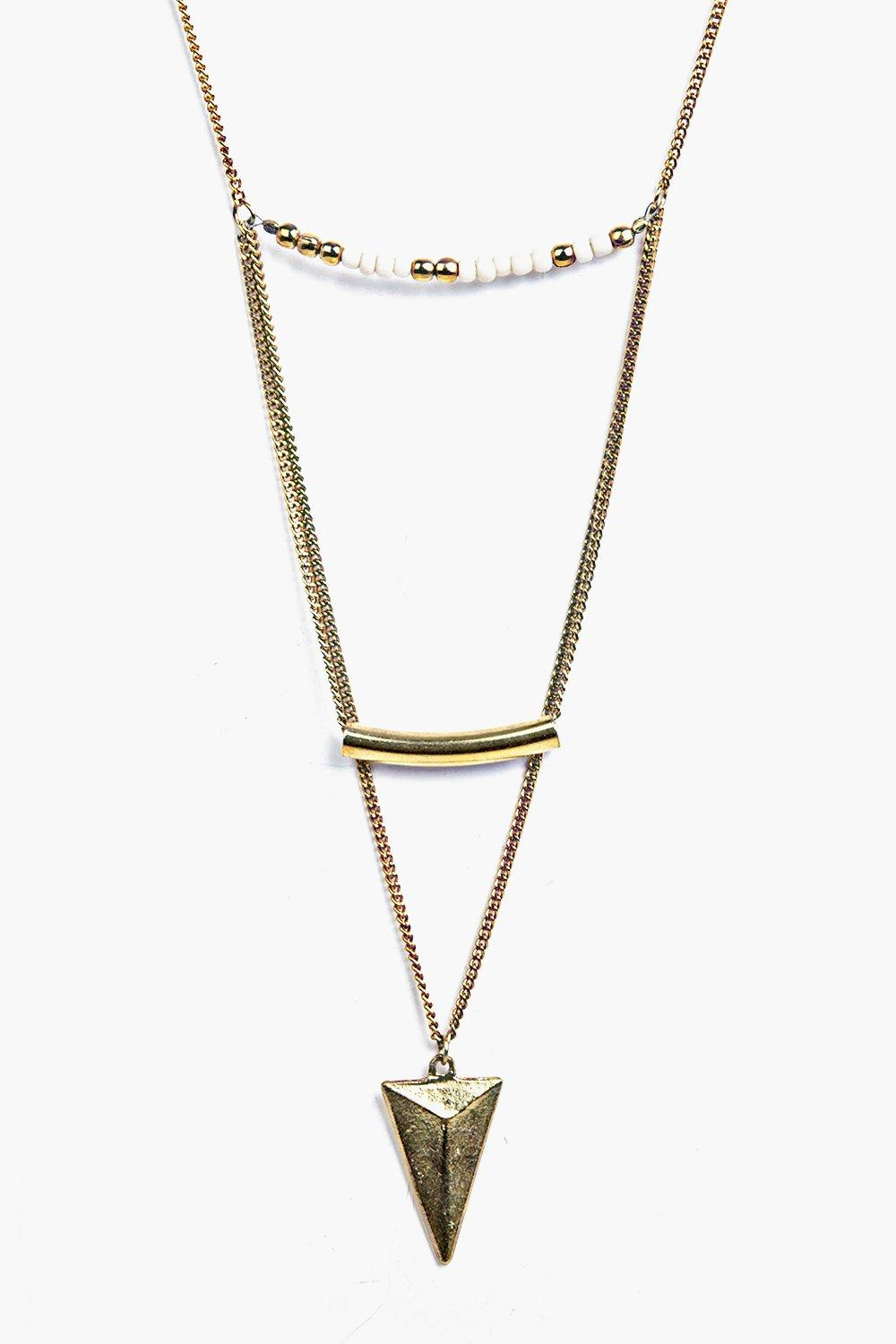 Rachel Bar And Triangle Layered Necklace