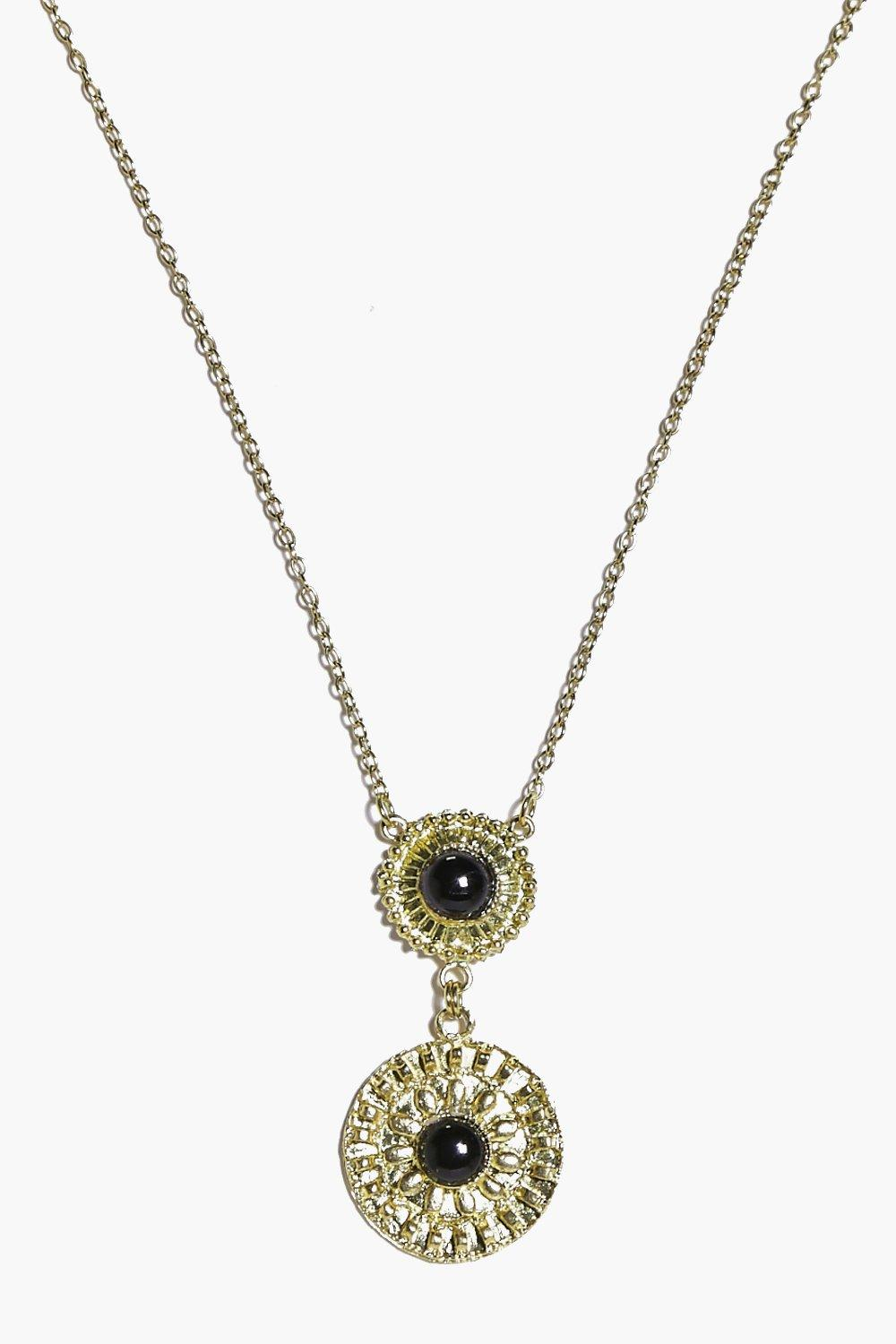 Stone Set Skinny Necklace - gold