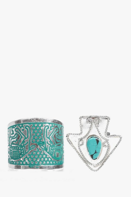 Eva Rope Detail Arrow Turquoise Ring 2 Pack