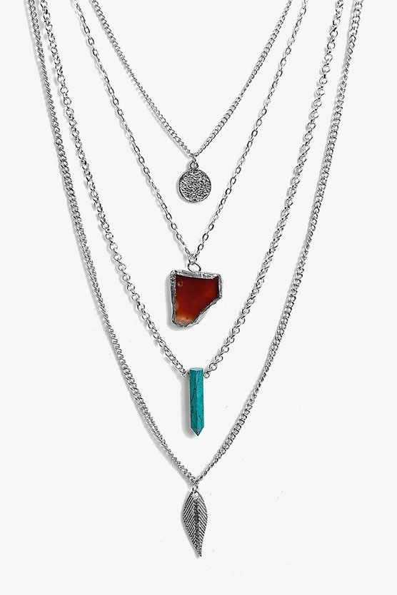 Tia Stone Pendant And Coin Layered Necklace