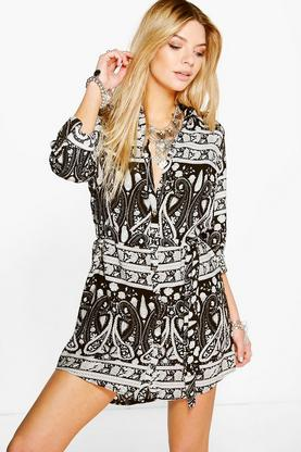 Serenna Mono Long Sleeve Shirt Dress