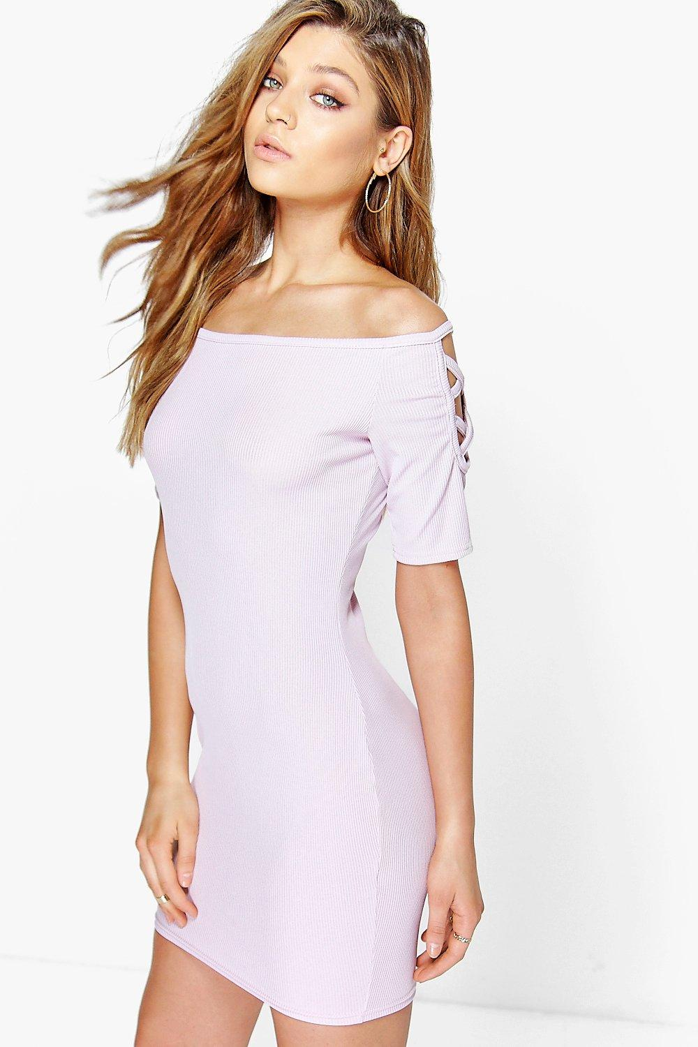 Tegan Cross Sleeve Ribbed Mini Dress