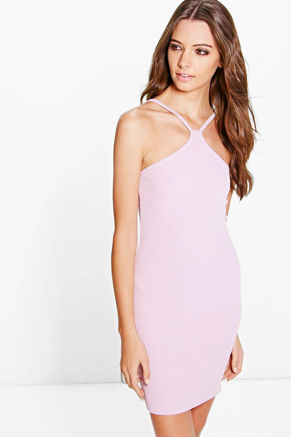 Alix Strappy Racer Ribbed Bodycon Dress
