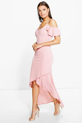 Evie Open Shoulder Frill Detail Wrap Maxi Dress