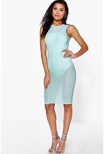Joanie Sleeveless Mesh Midi Dress With Body