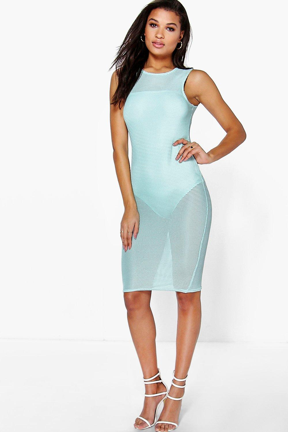 Joanie Sleeveless Mesh Midi Dress With Body