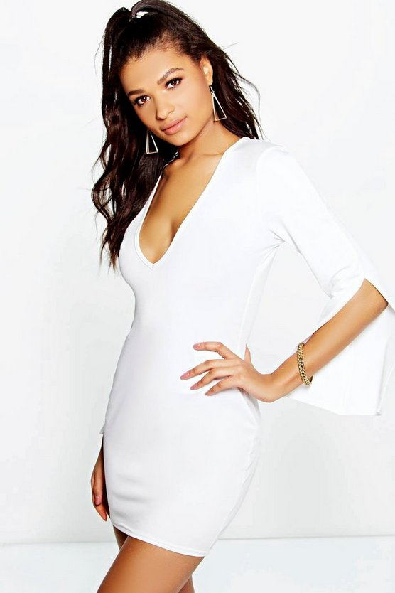 Lucie Slit Sleeve Plunge Shift Dress