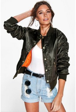 Amber Satin Button MA1 Bomber