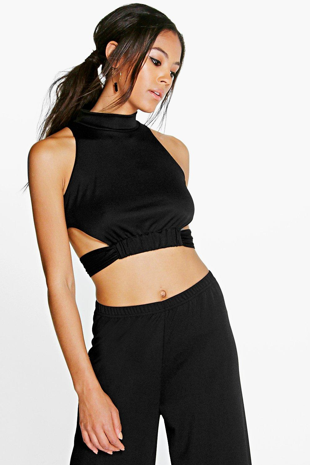 Layla Cut Out High Neck Crop Top
