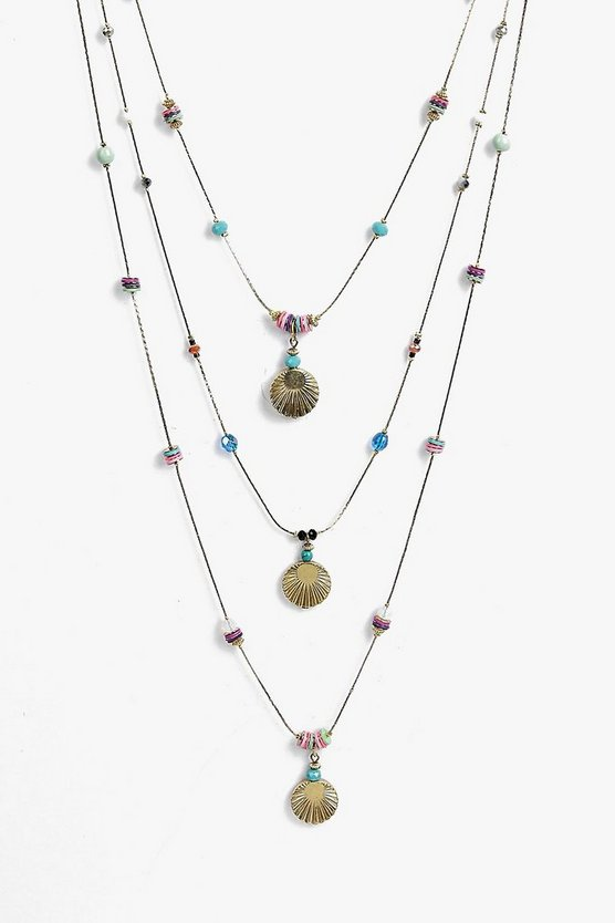 Eva Multi Layered Shell And Beaded Necklace