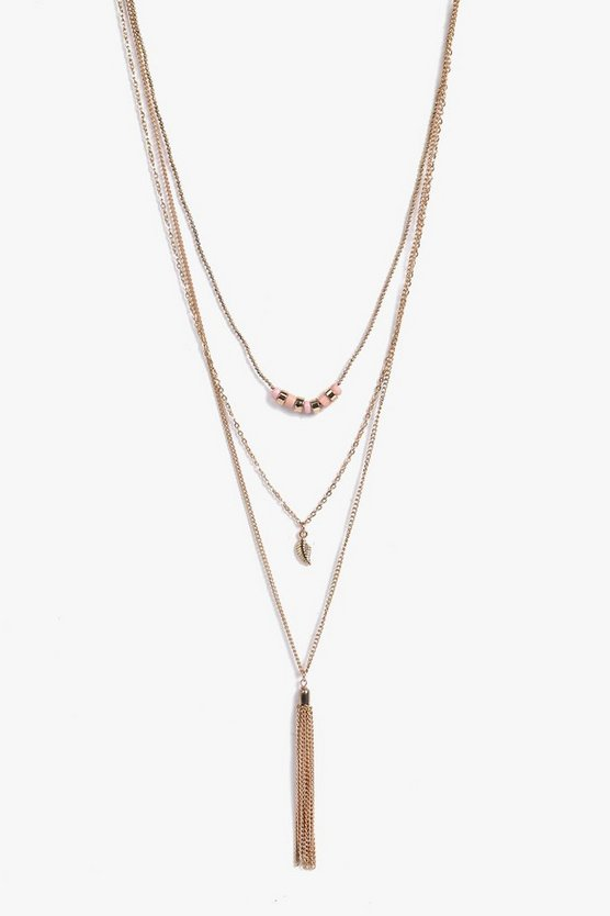Nancy Tassel Chain Layered Necklace