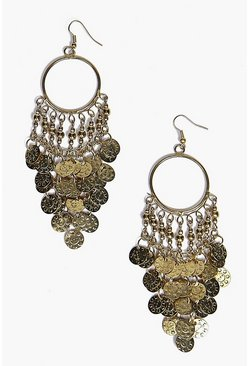 Amy Hammered Coin Hoop Statement Earrings