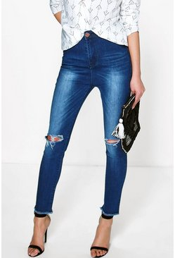 Helen High Rise Busted Knee Skinny Jeans