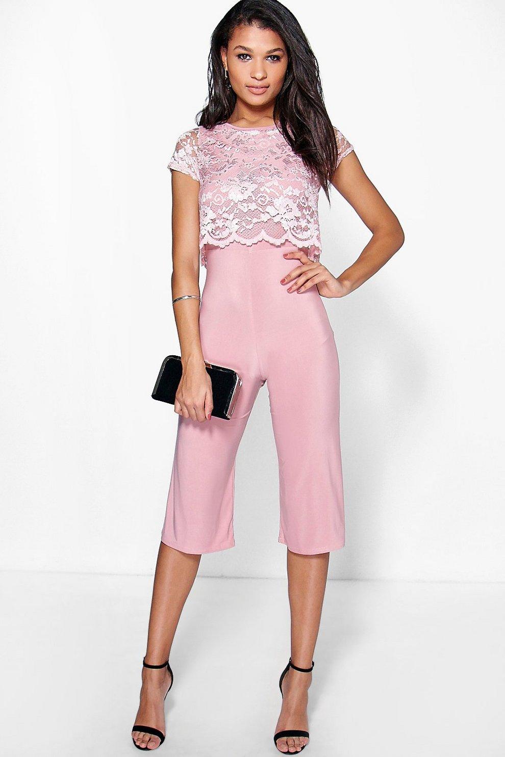 mono largo estilo falda pantalón con capa de encaje linda | Boohoo