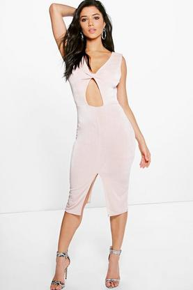 Abbey Textured Slinky Twist Front Midi Dress