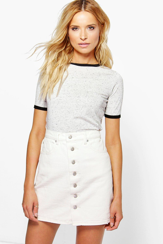 Button Through Denim Skirt ecru
