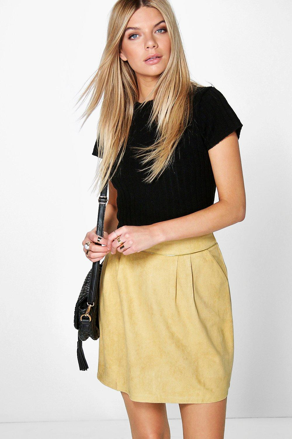 Ria Suedette A Line Mini Skirt