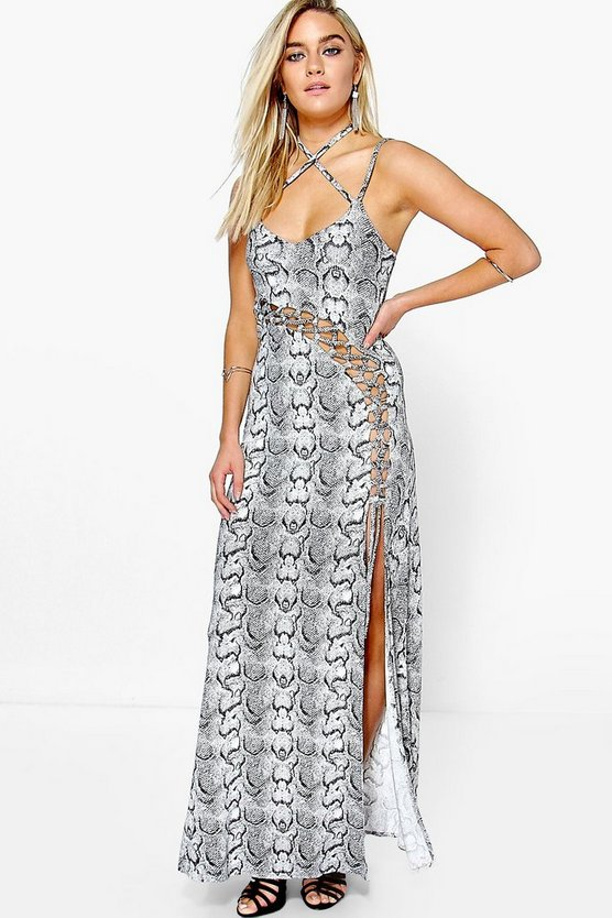 Leanne Snake Print Viscose Strappy Maxi Dress