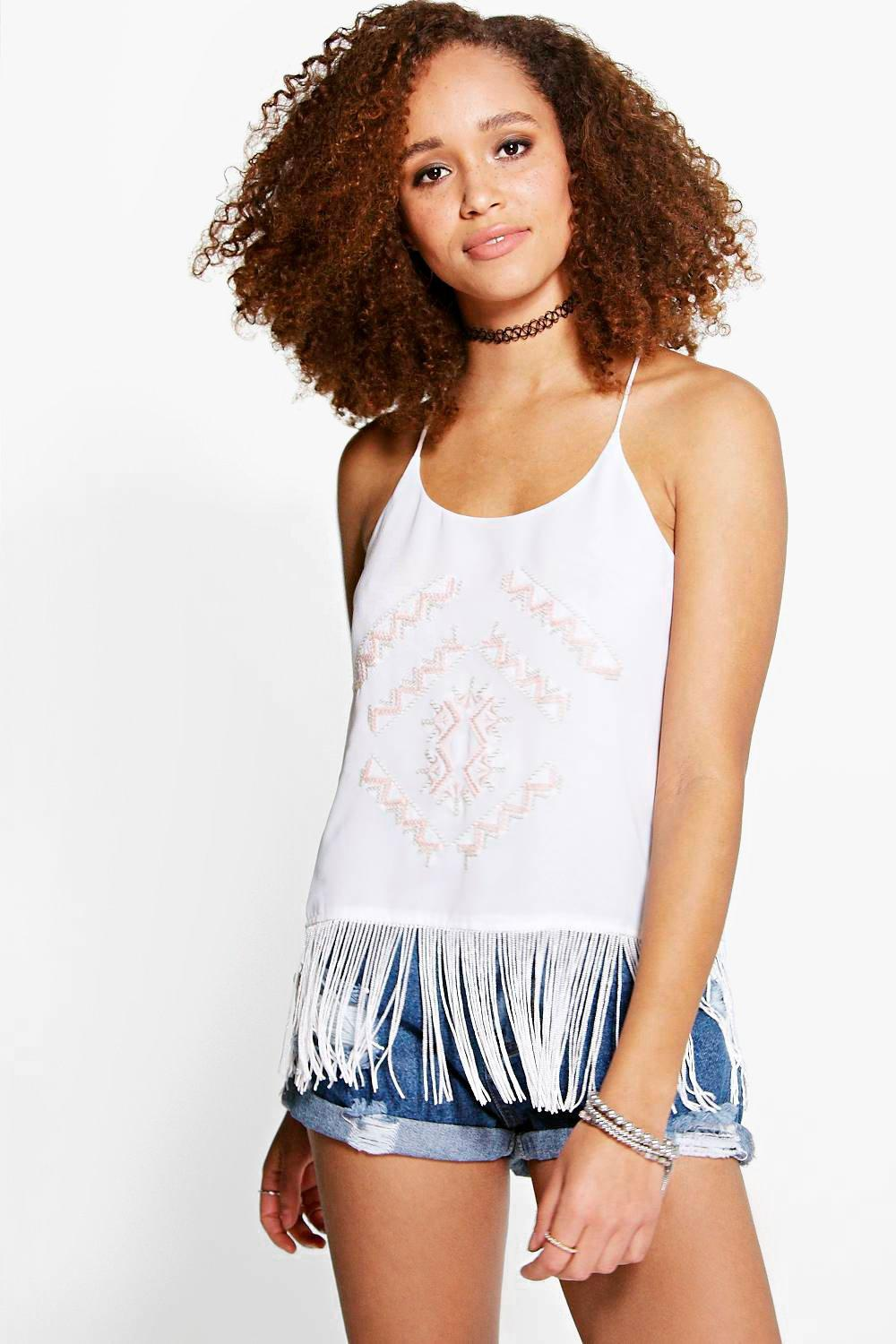 Lily Embroidered Tassel Hem Cami