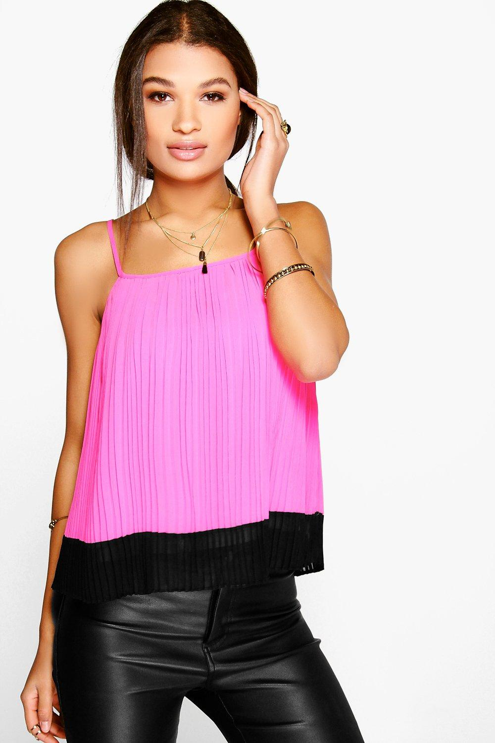 Esme Pleated Chiffon Strappy Cami Top